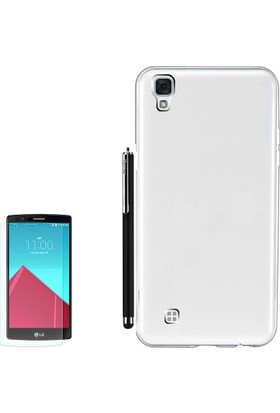 Gpack LG X Style Kılıf Ultra İnce 02mmSilikon Arka Kapak +Kalem +Cam