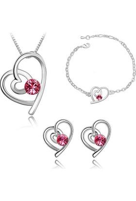 Myfavori Seti Romantik Takılar Kalp Kolye Ve Küpe Bileklik 3Lü Takı Setleri