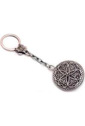 Sümer Telkari İşçilikli Elişi Menekşe Gümüş Anahtarlık