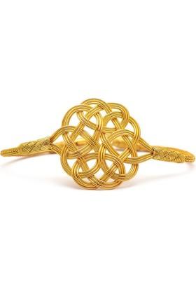 Sümer Telkari Aşk Düğümü Kazaziye El Sarması Altın Yaldızlı Gümüş Bileklik 150