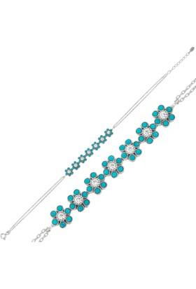 Bayan Lili Gümüş Mavi Kırçiçeği Bileklik