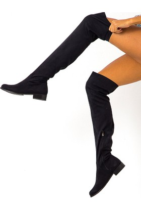 Mecrea Exclusive Britany Siyah Stretch Düz Çorap Çizme
