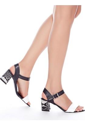 Mecrea Exclusive Dabney Siyah Beyaz Yılan Kombin Topuklu Sandalet
