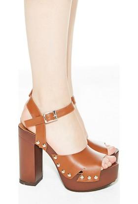 Mecrea Exclusive Garnet Taba Takunya Platform Topuklu Ayakkabı