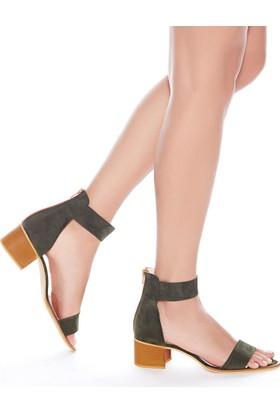 Mecrea Exclusive Moreno Haki Yeşil Süet Bantlı Topuklu Sandalet