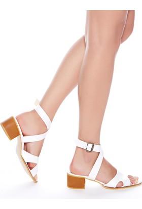 Mecrea Exclusive Utah Beyaz Dekolte Topuklu Sandalet