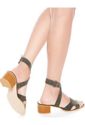 Mecrea Exclusive Utah Haki Yeşil Süet Dekolte Topuklu Sandalet