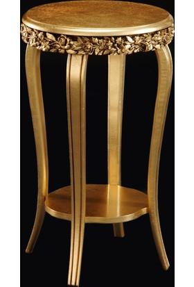 Osmanlı Mobilya Altın Varaklı İşlemeli Yan Sehpa
