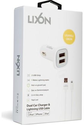 Lixon 2.4A Dual Car Charger Whıte+1M Lıghtnıng