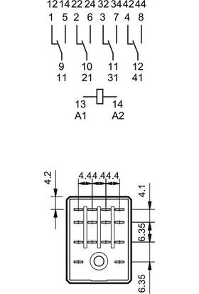 Finder Dört Kontaklı Endüstriyel Röle 24 V. Dc Bobinli (55.34)