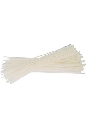 Pemsan Kablo Bağı (Klips) 3,6X300 mm (100 Adetlik Paket) Beyaz