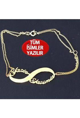 Chavin Gümüş-Altın 2'li Sonsuzluk isim-isimli ce91sr-bileklik