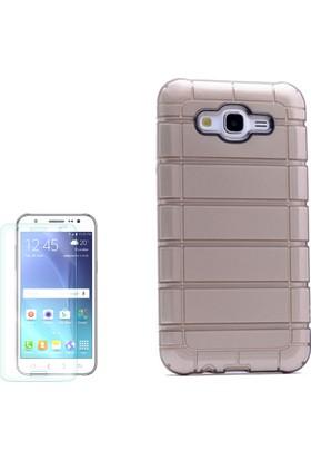 Gpack Samsung Galaxy J7 2016 Kılıf Çizgili Motomo Sert Silikon Arka Kapak Altın Dore +Cam