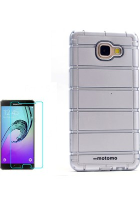 Gpack Samsung Galaxy A3 2016 Kılıf Çizgili Motomo Sert Silikon Kapak Beyaz + Cam