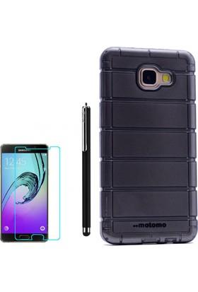 Gpack Samsung Galaxy A7 2016 Kılıf Çizgili Motomo Sert Silikon Kapak Siyah +Kalem + Cam