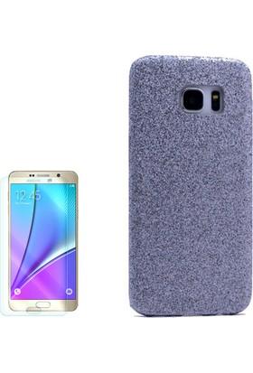 Gpack Samsung Galaxy Note 5 Kılıf Simli Sert Arka Kapak Rubber Case Mavi +Cam