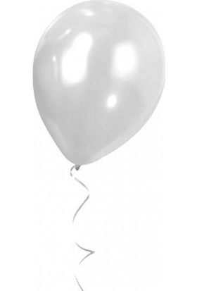 Bebekparti Metalik Beyaz Balon 10 Adet