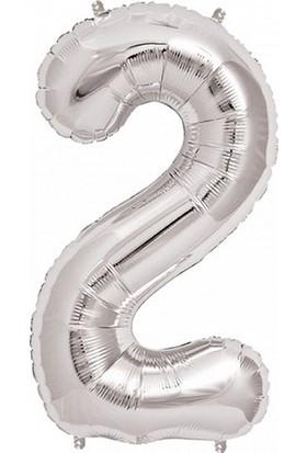Bebekparti 2 Rakam Gümüş Folyo Balon 100 Cm