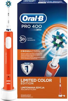 Oral-B Pro 400 Şarj Edilebilir Diş Fırçası Cross Action Turuncu (Özel Renk Serisi)