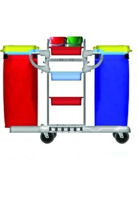 Hafea Hf3302 Kat Hizmet Ve Temizlik Arabası Çift Brandalı Plastik