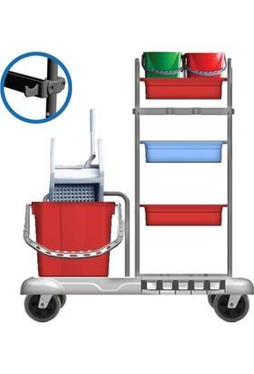 Hafea Kat Hizmet Ve Temizlik Arabası Plastik Çift Kovalı Hf 3304 Temizlik Seti İlaveli