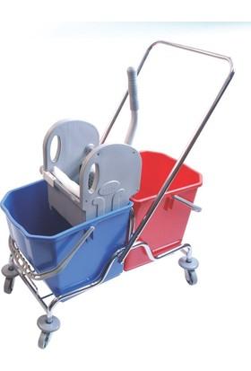 Hafea Temizlik Arabası Seti Krom Ekstra Çift Kovalı