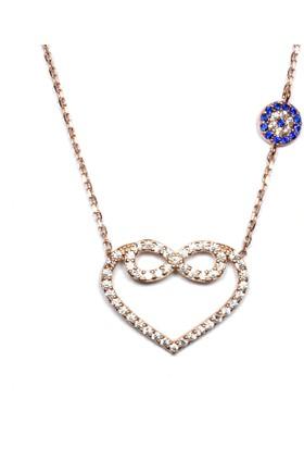 A'favor Gümüş Bayan Kolyesi Kalpli Sonsuzluk