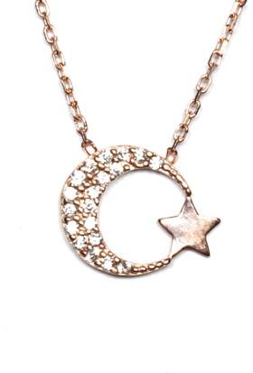 A'favor Gümüş Bayan Kolyesi Ay Yıldız