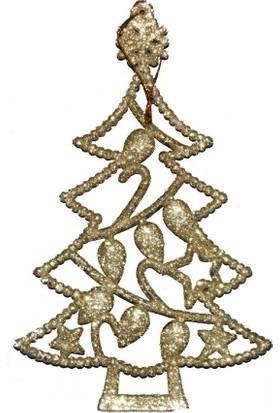 Sarı Çam Ağacı Figürü Dekoratrif Süs 15 cm