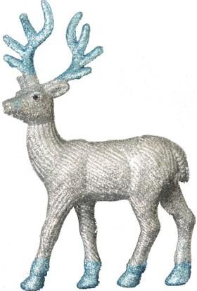 Simli Dekoratif Gümüş Renkli Geyik Süs 22 cm