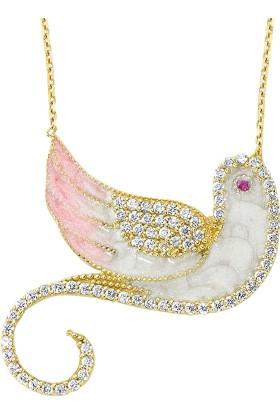 AltınSepeti Altın Mineli Zümrüdü Anka Kuşu Kolye AS1108KL