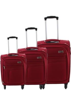 Verage GM14086W Kumaş 3Lü Valiz Seti Koyu Kırmızı