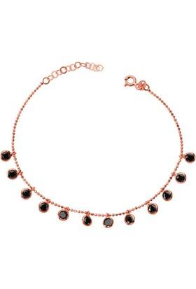 Bella Gloria Siyah Taşlı Tifani Rose Gümüş Bileklik (Gb00505)