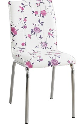Evinizin Mobilyası Deri Pedli Sandalye Lila Çiçek Desenli