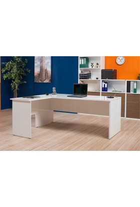 Adore Newyork L Ofis Masası Lake Beyaz