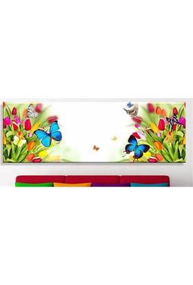 Laleler ve Kelebek Kanvas Tablo