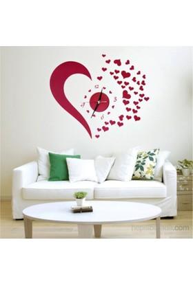 Hardymix Kalp Tasarımlı Duvara Yapışan Saat
