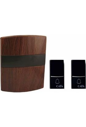 Tek-İş - Kablouz Kapı Zili Lüx Model - İki Buton - Tek Zil (Ahşap Kahverengi Renk)