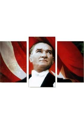 Tictac Atatürk - 3 Parçalı Kanvas Tablo