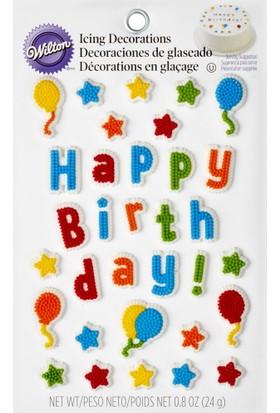 Wilton Wilton Yenilebilir Dekorasyon Şekeri (Happy Birthday)
