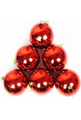 Elitparti Yılbaşı Ağacı Süsleme Topları Kırmızı (Kutuda 6 Adet 7cm Çapında)