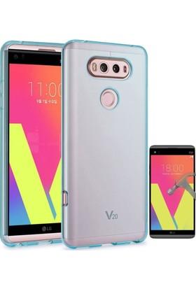 Teleplus Lg V20 Tam Korumalı Silikon Kılıf + Cam Ekran Koruyucu