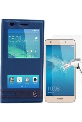 Teleplus Huawei 5C Gt3 Lux Çift Pencereli Kılıf + Cam Ekran Koruyucu
