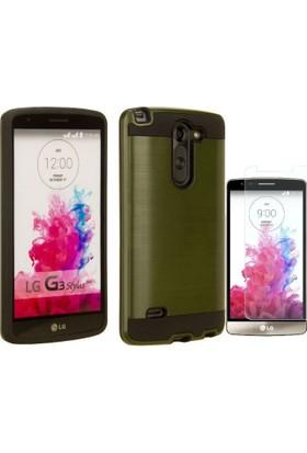 Teleplus Lg G3 Stylus Çift Katmanlı Kapak Kılıf + Cam Ekran Koruyucu