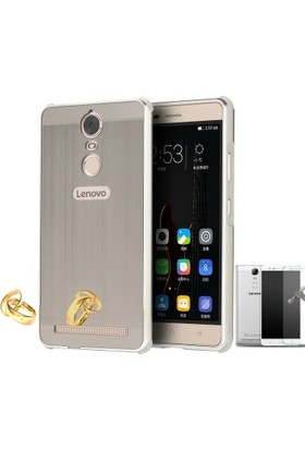 Teleplus Lenovo K5 Note Aynalı Metal Kapak Kılıf + Cam Ekran Koruyucu