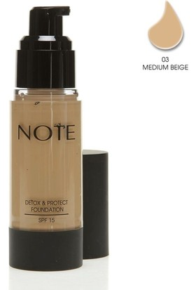Note Detox Protect Fondöten Spf15 Medium Beige 03 35Ml