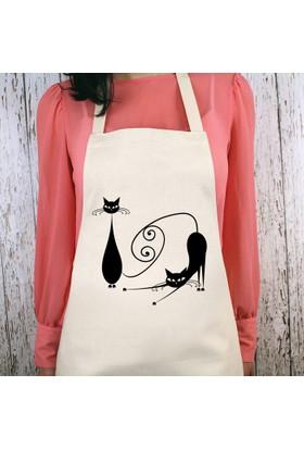 iF Dizayn Kedi Çizimli Mutfak Önlüğü