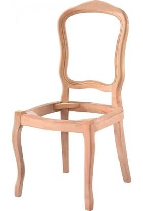 Masifart 7185 İtalyan Oymalı Sandalye Cilasız Ahşap