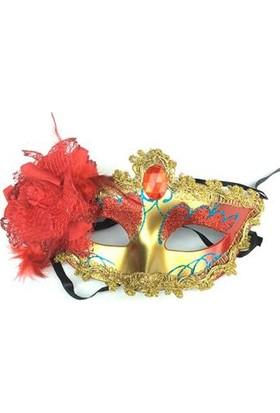 Partypark Güllü Parti Maskesi-Kırmızı