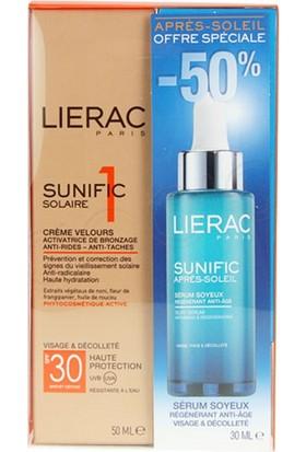 Lierac Solaire 1 Velvet Cream Spf30 50Ml Sunific After Sun Silky Serum Yüz Ve Dekolte Bölgesi İçin Güneş Kremi Kofre